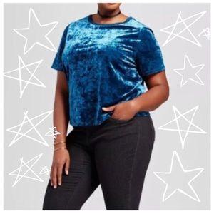 Ava & Viv Plus Size Crushed Velvet Blue Top Sz 4x